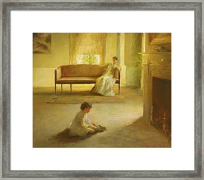 Interior With Mother And Child Framed Print by Edmund Charles Tarbell