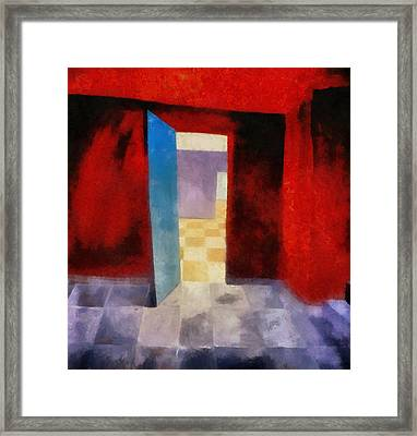 Interior With Red Walls Framed Print