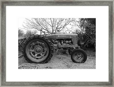 International Harvester Mccormick Farmall Farm Tractor . 7d10320 . Black And White Framed Print