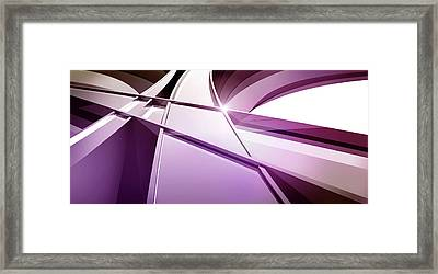Intersecting Three-dimensional Lines In Purple Framed Print by Ralf Hiemisch