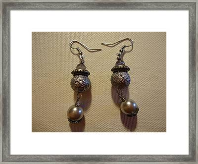 Into The Grey Earrings Framed Print by Jenna Green