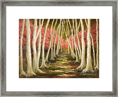 Into The Woods-series With Gold Leaf By Vic Mastis Framed Print
