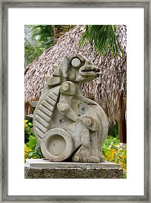 Intriguing Taino Sculpture Framed Print by Karen Lee Ensley