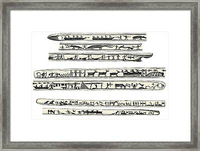 Inuit Weapon Carvings, Artwork Framed Print by Sheila Terry