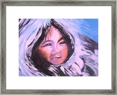Framed Print featuring the painting Inupiaq Eskimo Child by Alethea McKee