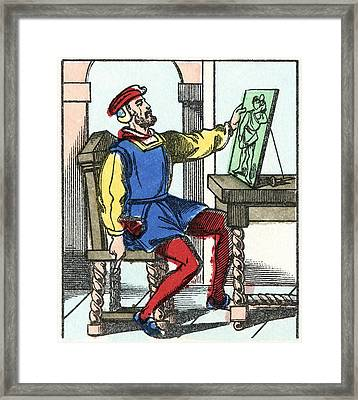 Invention Of Engraving, Medieval Europe Framed Print by Cci Archives