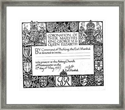 Invitation To The Coronation Of King Framed Print by Everett