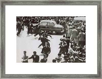 Iranian Police Assaulting School Framed Print by Everett