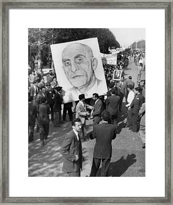 Iranians, Demonstrating In Favor Framed Print by Everett