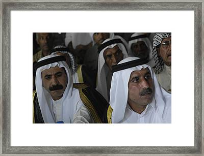 Iraqi Village Leaders At A Meeting Framed Print by Everett