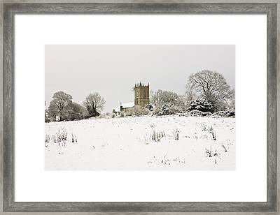 Ireland Winter Landscape With Church Framed Print by Peter McCabe
