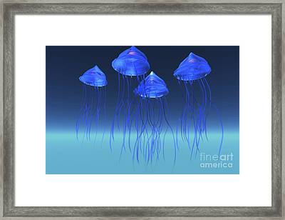 Iridescent Glowing Blue Jeelyfish Swim Framed Print