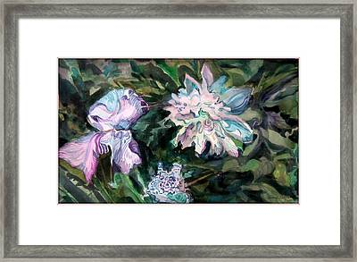 Iris And Peonies Framed Print by Mindy Newman