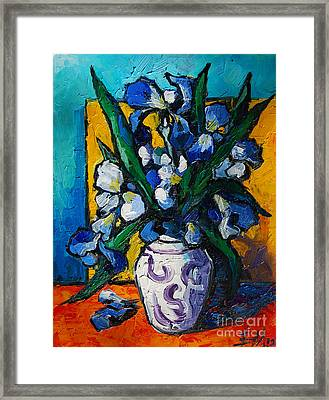 Irises Framed Print by Mona Edulesco