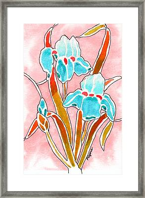 Framed Print featuring the painting Irises With An Attitude by Paula Ayers