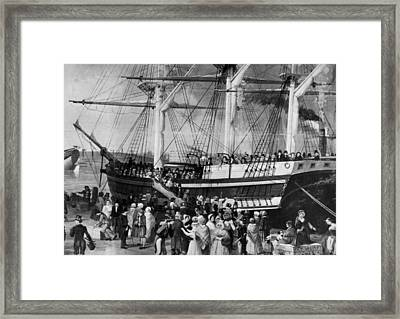 Irish Immigrants Disembarking At New Framed Print