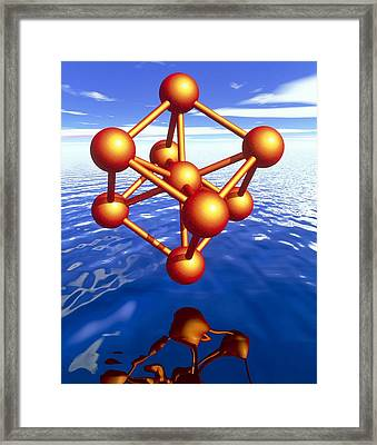 Iron Molecule Over Water Framed Print by Pasieka
