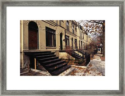 Iron Steps And Entrances In Row Houses Framed Print by Paul Damien