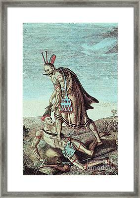 Iroquois Warrior Scalping Enemy, 1814 Framed Print by Photo Researchers