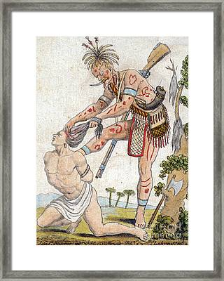 Iroquois Warrior Scalping Enemy Framed Print by Photo Researchers