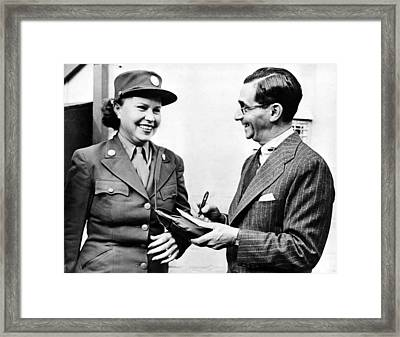 Irving Berlin Gives Autograph To Sybile Framed Print by Everett