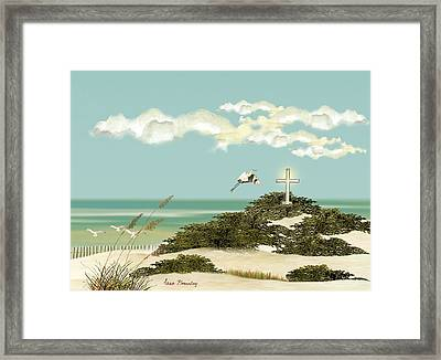 Island Cross Framed Print by Anne Beverley-Stamps