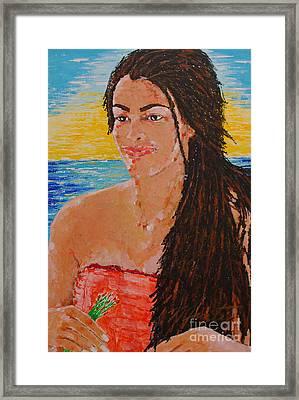 Island Flower Girl Framed Print