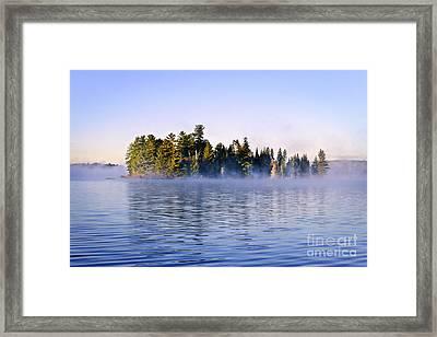 Island In Lake With Morning Fog Framed Print by Elena Elisseeva