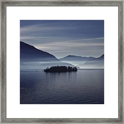 Island In Morning Mist Framed Print