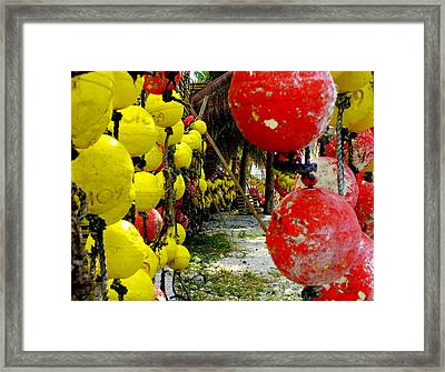Island Of Buoys Framed Print by Karen Wiles