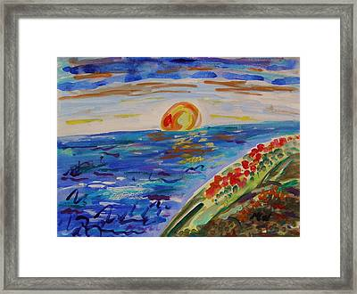 Island Poppy Sundown Framed Print by Mary Carol Williams