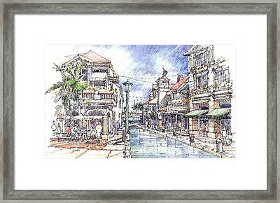 Framed Print featuring the drawing Island Waterway by Andrew Drozdowicz