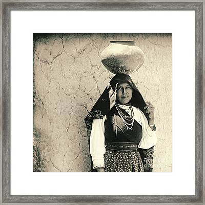 Isleta Pueblo Woman 1910 Framed Print by Padre Art