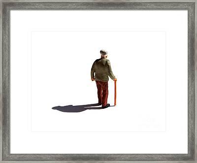 Isolated Old Man. Framed Print by Bernard Jaubert