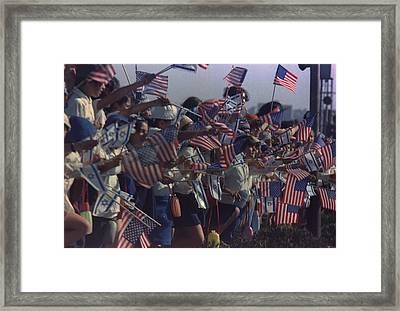 Israeli Children Waving American Flags Framed Print
