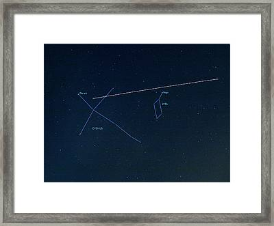 Iss Light Trail And Constellations Framed Print by Detlev Van Ravenswaay
