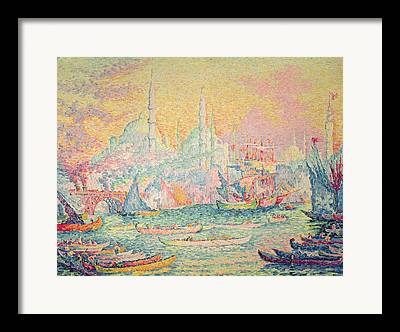 View Of Shipping And The Haghia Sophia Mosque Framed Prints