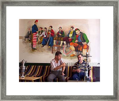 Framed Print featuring the photograph Istanbul Smokers by Lou Ann Bagnall