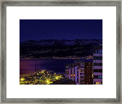 Istrian Riviera At Night Framed Print by Jasna Buncic