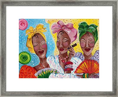 It Is Just Us 4 Girls Having A Conversation  Framed Print