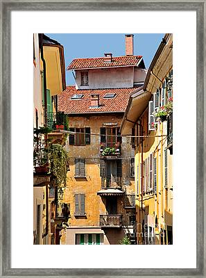 Italian Balconies Framed Print by Malu Couttolenc