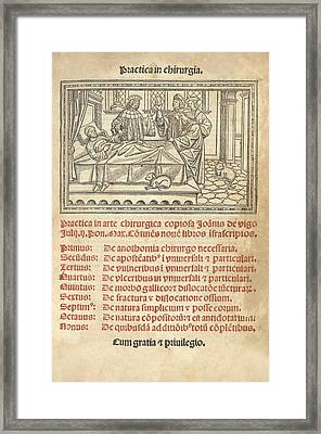 Italian Book On Surgery, 1514 Framed Print by King's College London