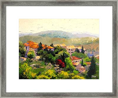 Italian Hillside Village Oil Painting Framed Print