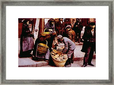 Italian Immigrants Selling Bread Framed Print by Everett