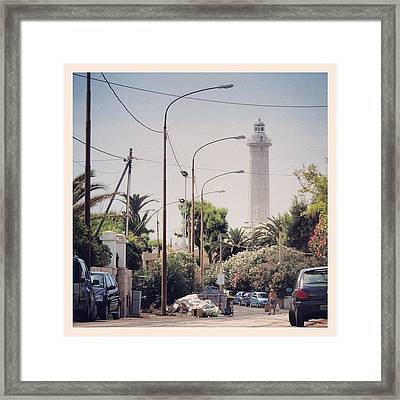 Italian Lighthouse With Garbage Framed Print