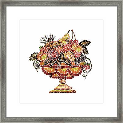 Italian Mosaic Vase With Fruits Framed Print by Irina Sztukowski