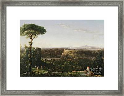 Italian Scene Composition Framed Print by Thomas Cole