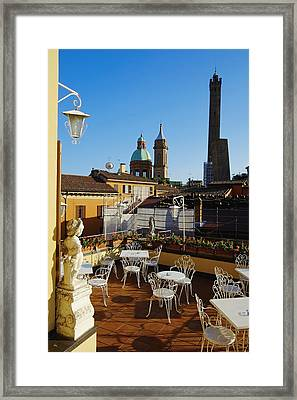 Italy, Bologna,towers Degli Asinelli And Garisenda Framed Print by Bruno Morandi
