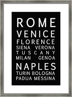 Italy Cities - Bus Roll Style Framed Print by Georgia Fowler