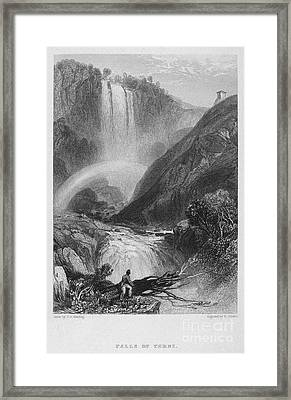 Italy: Waterfall, 1833 Framed Print by Granger
